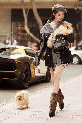 Chó Pom màu vàng kem mặt gấu, chân to, lông dày hàng tuyển chọn được chị Ngọc Trinh lựa chọn