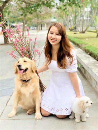 Sức hút không thể chối từ bởi cố gái xinh đẹp tỏa nắng cùng bạn cún golden và poodle xinh xắn
