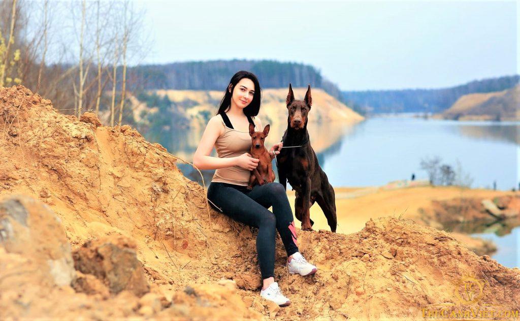 Ngắm nhìn chú chó Doberman từ xa cùng cô chủ rất đẹp
